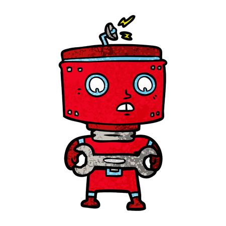 Robot with spanner cartoon