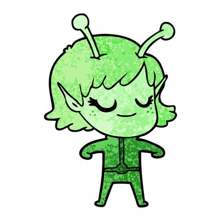 Happy green alien girl cartoon Ilustração