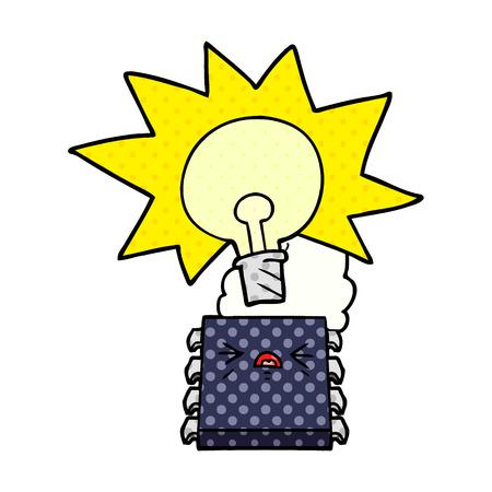 Overheating computer chip cartoon