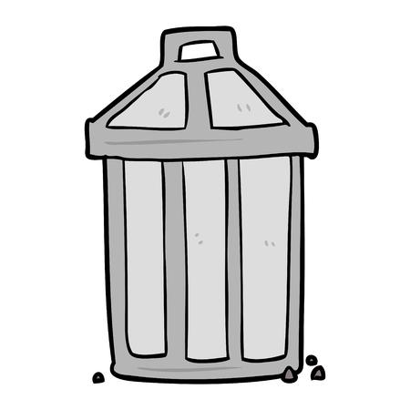 古い金属ゴミ缶漫画  イラスト・ベクター素材