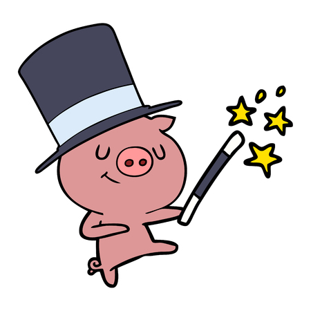 happy cartoon pig magician Illustration