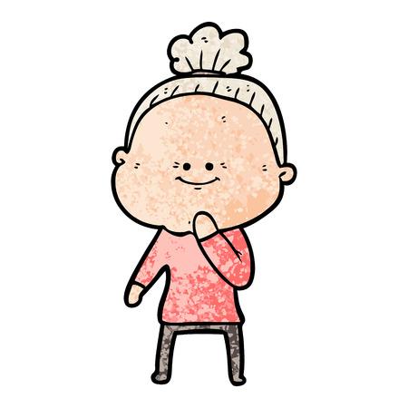 cartoon gelukkige oude vrouw Stock Illustratie