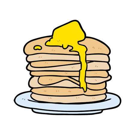 cartoon stack of pancakes Ilustracja