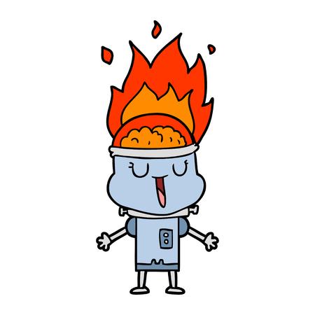happy cartoon malfunctioning robot