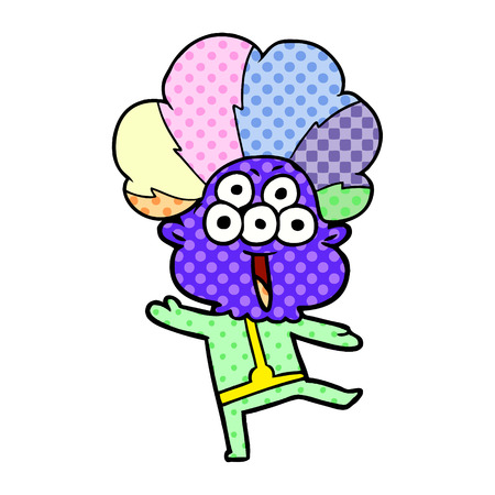 happy cartoon alien dancing in clown wig Иллюстрация