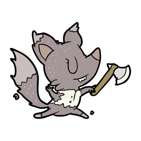 cartoon halloween werewolf with axe Illustration