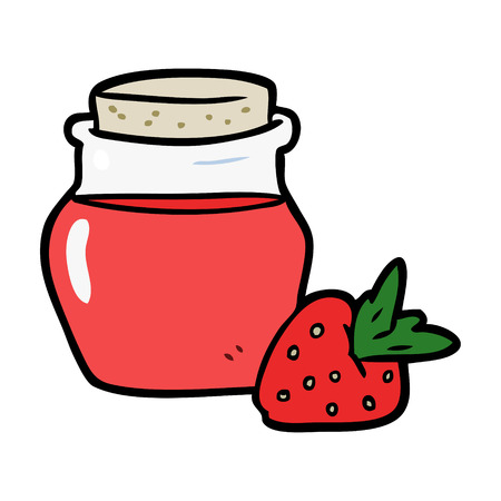 cartoon jar of strawberry jam Çizim