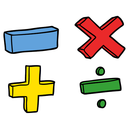 cartoon math symbols Stock Illustratie