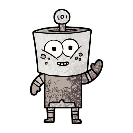 Happy Cartoon Roboter winkt Hallo Standard-Bild - 94589116