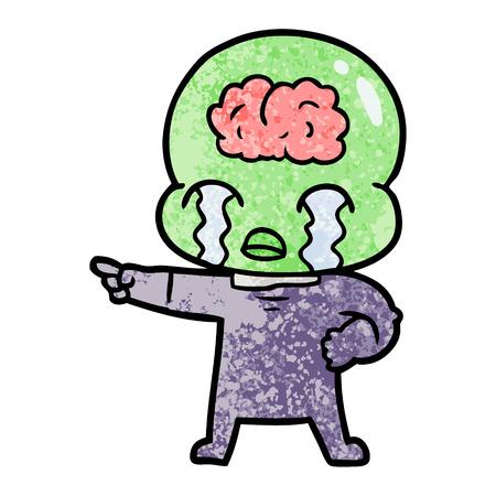 만화 큰 두뇌 외계인 울고 및 포인팅