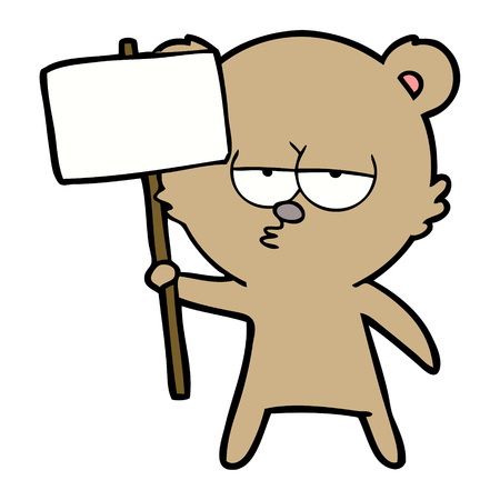 Bear cartoon character with protest sign. 向量圖像