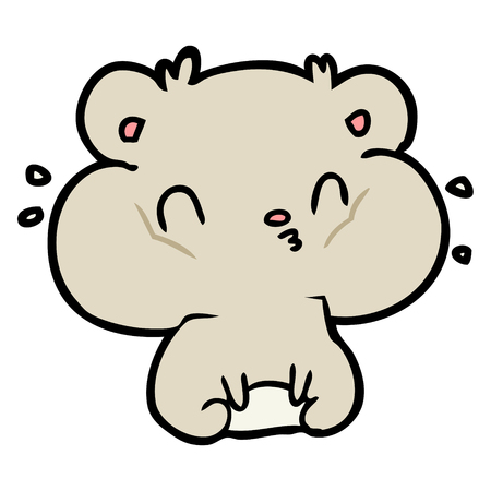 Cartoon hamster with full cheek pouches.
