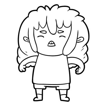cartoon angry kid Illustration