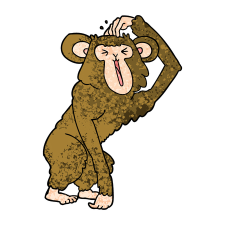 Cartoon chimp scratching head