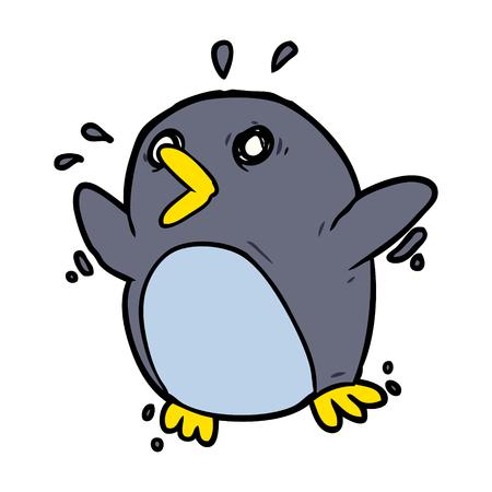 漫画おびえたペンギン  イラスト・ベクター素材