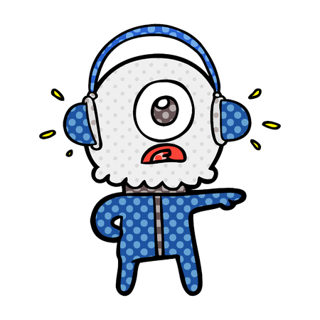 cartoon cyclops alien spaceman listening to music Illustration