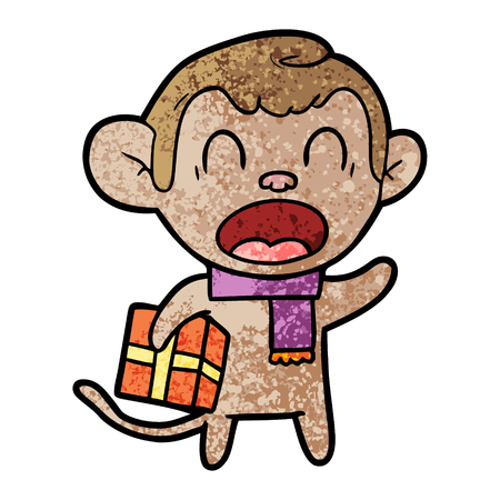 shouting cartoon monkey carrying christmas gift Stok Fotoğraf - 94622791