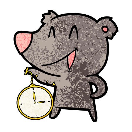 laughing bear cartoon with pocket watch