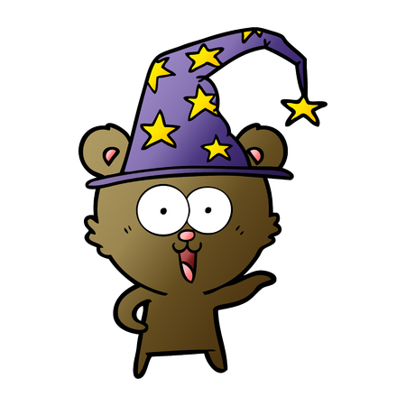 Laughing wizard teddy bear cartoon. Çizim