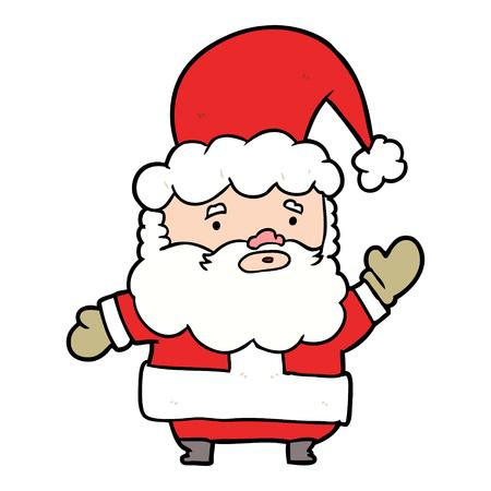 Cartoon Santa Claus waving.