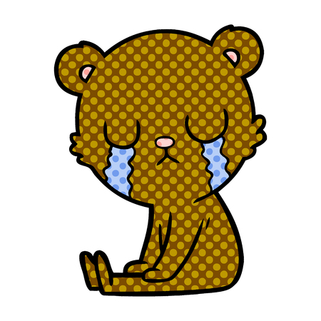 crying bear cartoon character illustration. Ilustração