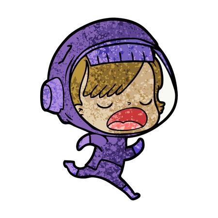 Cartoon running astronaut.