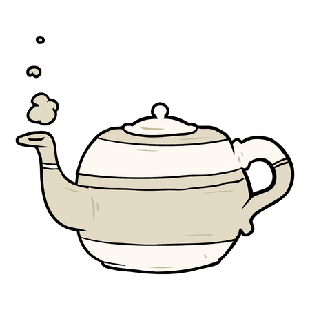 Cartoon tea pot. Çizim