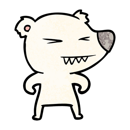 angry polar bear cartoon illustration.