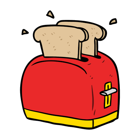 cartoon toaster toasting bread Çizim