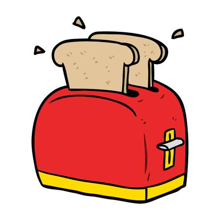 cartoon toaster toasting bread Vettoriali