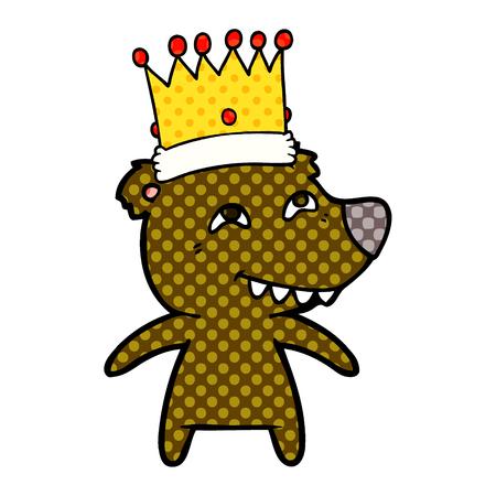 Roi ours cartoon montrant les dents Banque d'images - 94623248