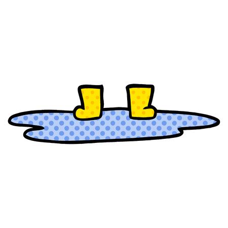 Stivali di gomma del fumetto in pozzanghera Archivio Fotografico - 94623393