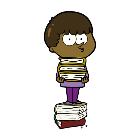 cartoon curious boy with lots of books
