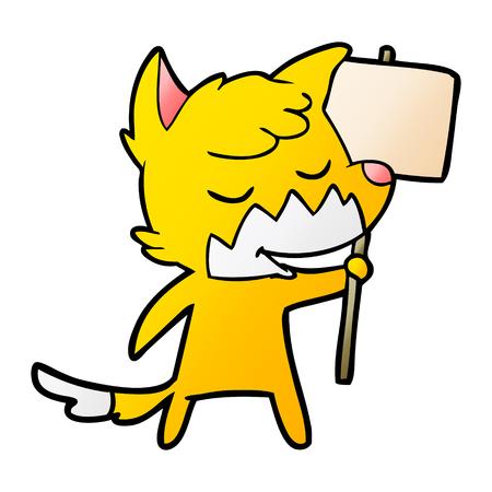 Fox Zeichentrickfigur mit Protest Zeichen Standard-Bild - 94623183