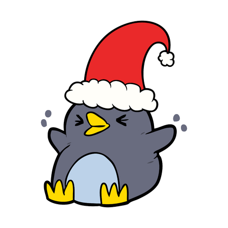 Cartoon penguin wearing Christmas hat Illustration