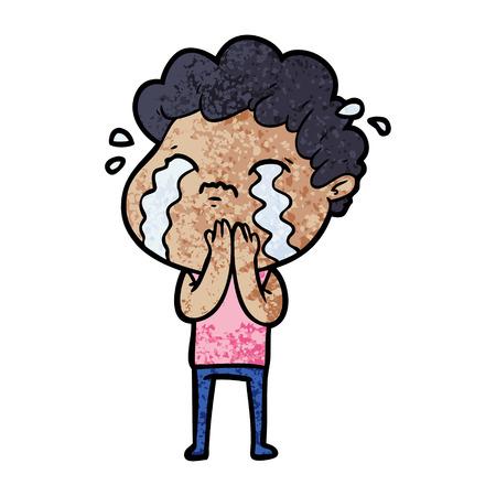 Cartoon man crying Vettoriali