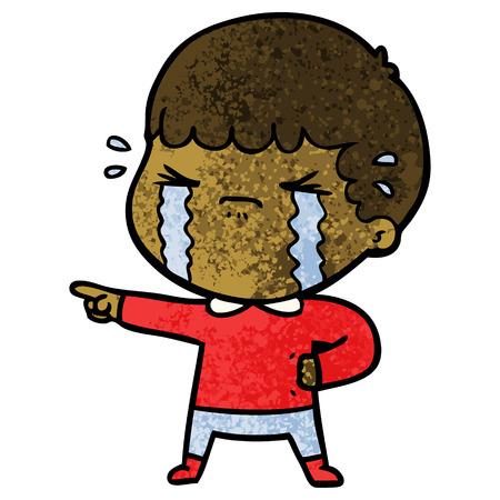 Cartoon man crying Ilustração