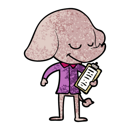 Cartoon  smiling elephant with clipboard
