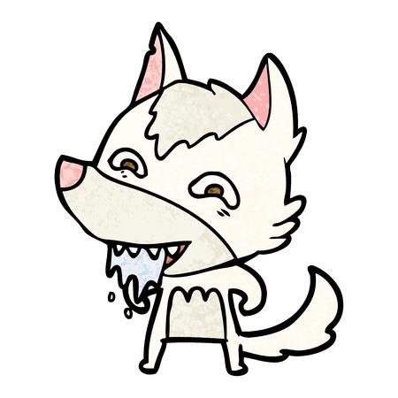 만화 배가 고픈 늑대 일러스트