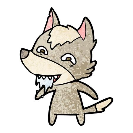 cartoon hongerige wolf Vector illustratie. Stock Illustratie