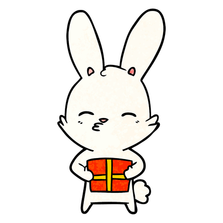 curious bunny cartoon with present