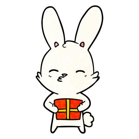 curious bunny cartoon with present