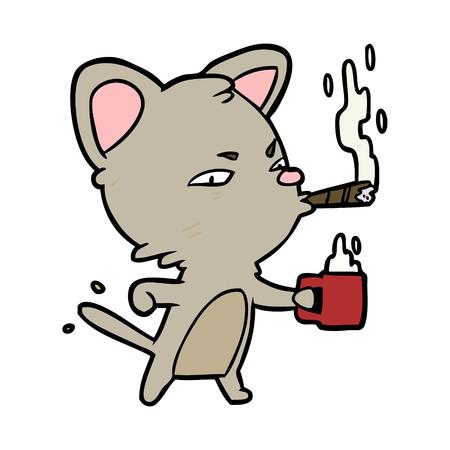 Cartoon serieuze zaak kat met koffie en sigaar Stockfoto - 94623518