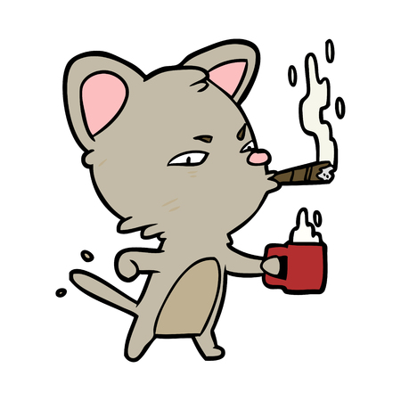 cartoon serious business cat with coffee and cigar Illusztráció