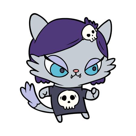 cute cartoon tough cat girl