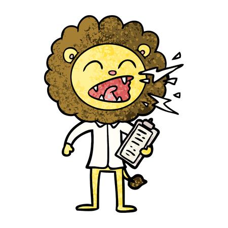 cartoon roaring lion doctor
