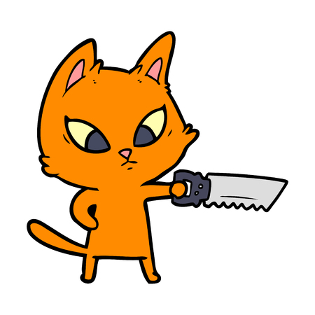 confused cartoon cat with saw