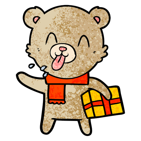 rude cartoon bear with present