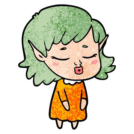 pretty cartoon elf girl 向量圖像