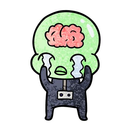 cartoon big brain alien crying